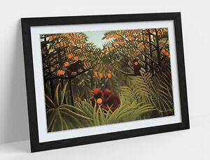 HENRI ROUSSEAU APES IN AN ORANGE GROVE -ART FRAMED POSTER PICTURE PRINT ARTWORK