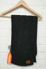 W10. BNWT SUPERDRY BLACK CABLE KNIT FLECK SCARF WITH WOOL UNISEX