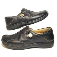 Clarks Unstructured Womens 10 M Shoes Black Leather Button Loop Slip On Loafer