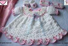 Baby dress,booties + headband crochet pattern,  DK, Romany, girl. pram set, pink