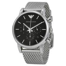 NEW Emporio Armani Classic Black Dial Silver S/Steel Mesh Bracelet Watch AR1811