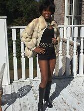 Designer Classy White cinnamon platnium Mink Fur Coat Jacket stroller S-M 0-8