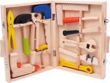 Werkzeugkoffer Lino aus Holz Kinderspielzeug Werkbank Werkzeugbank Bohrmaschine