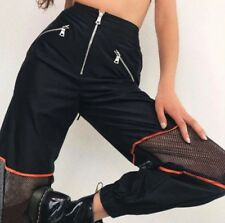 Black Cargo Trousers Mesh Panels In The Style I Am Gia Size Small 8-10