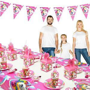 Einhorn Party-Geschirr Mädchen Kinder-Geburtstag Tischdeko Set 10 Personen Deko