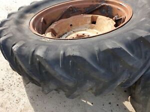 Pair of 16.9R38 Massey Ferguson Heavy Adjustable wheels 1662805M1
