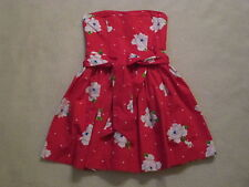 Girls Abercrombie Fitch Red Floral Strapless Sundress Cotton Dress sz XL 12 14