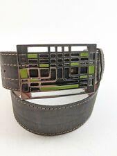 J Lindberg Big Buckle Brown Leather Wide Belt Sz 36