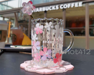 Hot NEW Starbucks Japan Sakura Glass W/Stir Stick Cup Glass Mugs with Coaster