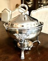 """Vintage Crescent Silver Plate Chafing Dish Oil Burner 9"""" Ornate Legs W/claw Feet"""
