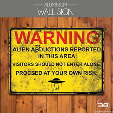 Area 51 Warning Alien Abduction Funny Man Cave Metal Wall Sign Plaque Art Gift