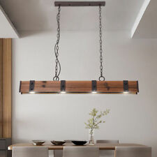 Industrial Style 4-Light LED Linear Wood & Metal Pendant Light for Dining Area