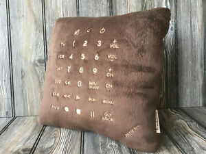 """Brookstone Pillow Embroidered TV Remote Control Theme 15"""" x 15"""""""