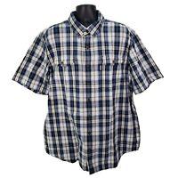 Carhartt Mens Button Front Shirt Short Sleeve Relaxed Fit Blue Plaid 2XL Tall