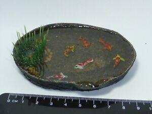 1:12 Scale Pond + 6 Koi Carp  Dolls House Miniature Garden Accessory