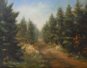 Country Road, 11x14 original oil painting, Maine artist, Celene Farris, trees