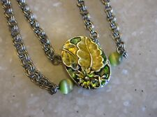 Silver Tone Chain Necklace w/ Attached Floral Enameled Pendant, Tiny Glass Beads