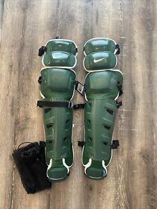 """BRAND NEW Nike Baseball Vapor Catchers Leg Guards Green / White 16"""" $350 PBP512"""
