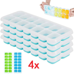 4 Stück Eiswürfelform Silikon Eiswuerfelbehaelter Mit Deckel Ice Tray Ice Cube