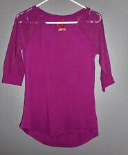 RED CAMEL Top NEW/NWT sz Small Plum Candy LACY 3/4 SLEEVES  NiCe!