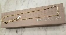 New Silpada Sideways Cross Hammered Brass Crystal Necklace