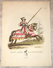 Hand-Colored Engraving: Knight Armed A La Haute Barde from Antient Armour 1824