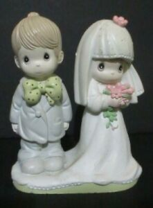 """Precious Moments Wedding Cake Topper Couple """"The Lord Bless You"""" Plastic 4"""""""