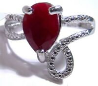 Genuine Ruby Ring with Diamonds Sterling Silver