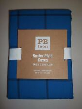 Pottery Barn Teen Boxter Plaid Cases Pillowcases S/ 2 Navy #189