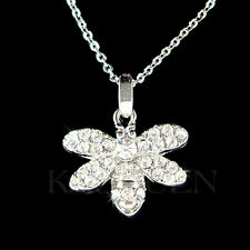 w Swarovski Crystal ~Clear Bumble Bee Honey Insect Keeper Charm Necklace Jewelry