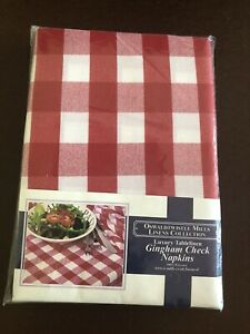 Red & White Gingham checked Fabric Napkins Pack of 4