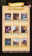 Full set of Steampunk white card  coin Master  Cards ( Fastest Delivery)