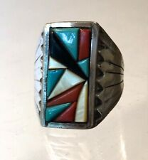 VTG 1970-80s~NATIVE AMERICAN ZUNI INDIAN~RING~SILVER~MULTI STONE INLAY~SIZE 10.5