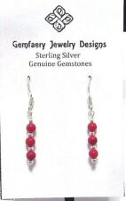Classic Sterling Silver Natural Red CORAL Dangle Earrings #2137...Handmade USA