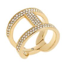 MICHAEL KORS Women's Gold Tone Heritage Maritime Pave Link Ring Size 7 MKJ4462