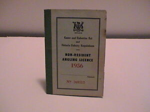 1956 ONTARIO CANADA NATURAL RESOURCES NON RESIDENT FISHING ANGLERS BOOK LICENSE
