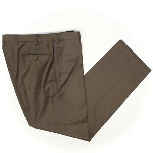 Incotex Mens Dress Pants 36x33 Solid Brown Wool Flat Front High Comfort Trousers