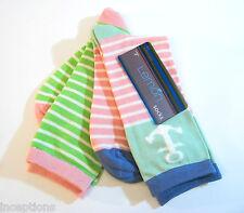 2 PR Lemon Ladies Bamboo Blend Crew Trouser Socks Stripes / Anchor Pastels - NEW