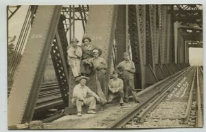 1909 L.S & M.S Railroad Bridge & Crew Irving New York Real Photo Postcard RPPC