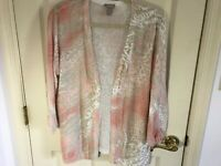 Woman's Chico's size 2 pink multicolored linen blend runched sleeve open top
