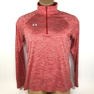 Under Armour HeatGear UA Twisted Tech 1/4 Zip Long Sleeve Pullover Red Women's M