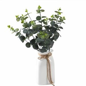 Large Bunch of Artificial Eucalyptus Stems - Greenery Plastic Leaves Fake Xmas