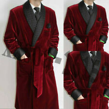 Men Maroon Smoking Gown Velvet Wedding Party Wear Long Overcoats Shawl Lapel New