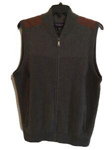 Roundtree & Yorke Men Full Zip Sweater Vest M L XL Gray Hthr Suede Shoulder NWT