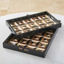 """13.25"""" Long Triangle Marquetry Tray Large Bone Horn Resin Sheesham Wood MDF"""
