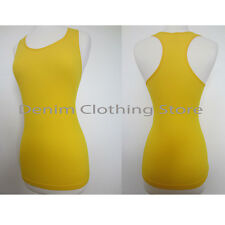 JUNIOR BASIC SOLID STRETCH RIBBED RACER BACK TANK TOP FITS XS S M L ANY COLORS