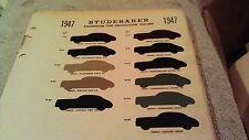 1947 STUDEBAKER PAINT CHIP CHART