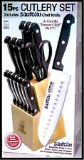 "Masterchef Duracut 15 piece 7"" Santoku Knife Wooden Block Steak Cutlery Set"