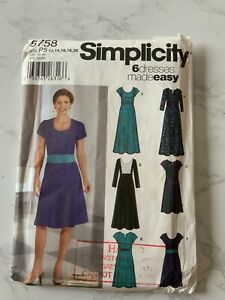 Simplicity 5758 Miss Petite Ladies 6 Dresses Made Easy Sizes 12-20 Unused