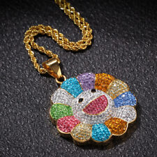 Hip Hop Stainless Bling Colorful Sun flower Diamond Jewelry Pendant Necklace